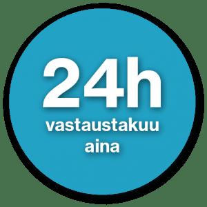 24 vastaustakuu aina